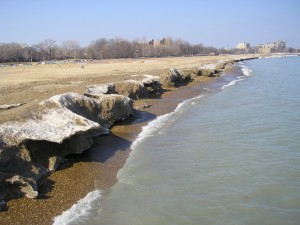 The beach at Loyola Park in Chicago.  It's thawing out, and starting to look really nice.