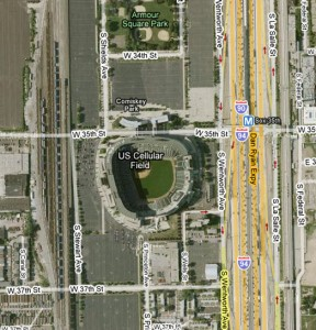 U.S. Cellular Field is surrounded by an ocean of concrete.  Source: Google Maps