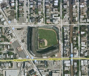 Wrigley Field, the centerpiece of a bustling neighborhood.  Source: Google Maps
