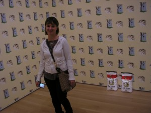 Les and I visited the Art Institute museum when she was in town.  Here she is with kitty litter and wallpaper!